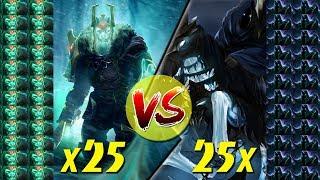 50 ГЕРОЕВ - 25 vs 25 ОНЛИ МИД! Wraith King x25 VS Abaddon x25! [Имбанутый замес]