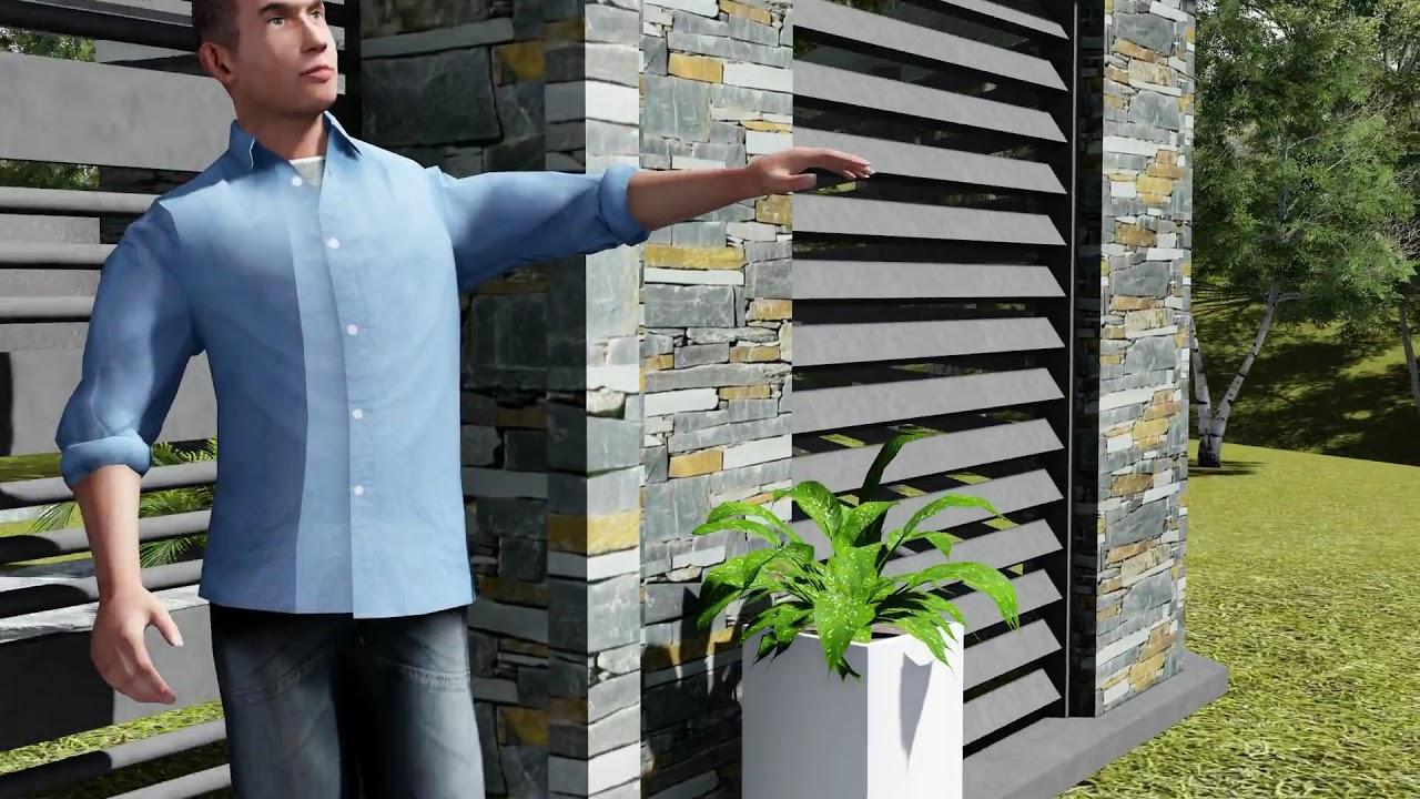 Frente con rejas y laja gris oxido youtube for Modelos fachadas para frente casa
