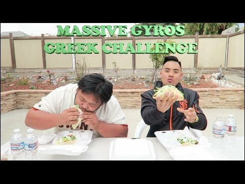 MASSIVE GYRO GREEK CHALLENGE | 3 GYRO EACH EAT OFF | GREEK CUISINE