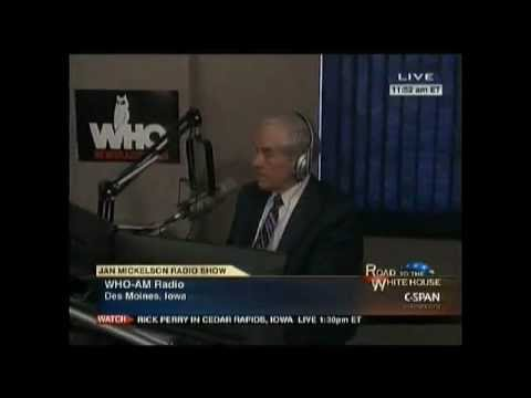 Ron Paul on WHO Iowa Radio 12/29/11