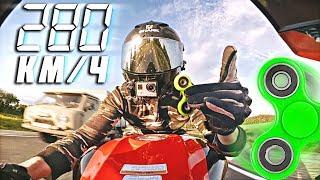 Кручу спиннер на скорости 280 км в час - трюк со спиннером на мотоцикле