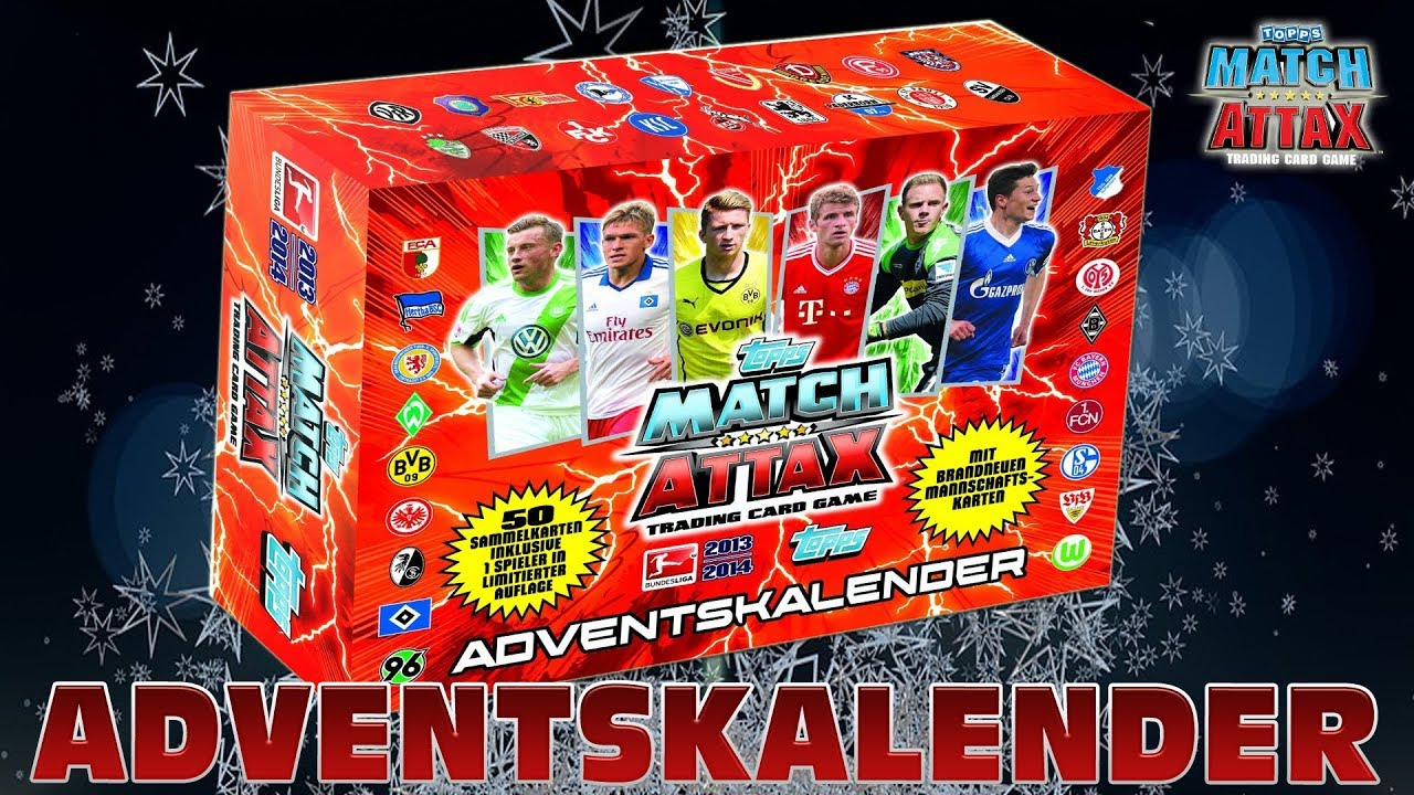 Match Attax Weihnachtskalender.Topps Match Attax Adventskalender 2013 2014