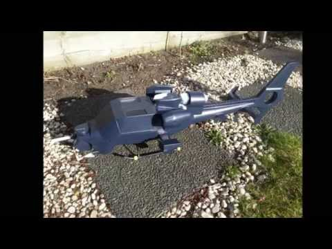 Trex 450 rc blue thunder helicopter Darth Fuselage - YouTube