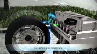 Elektro-Auto New 500 E, mit e-auto im Stadtverkehr