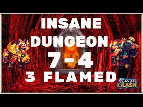 HOW TO 3 FLAME INSANE DUNGEON 7-4 - CASTLE CLASH