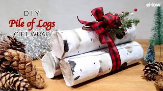 This pile of logs is actually a set of gifts cleverly wrapped in ma...