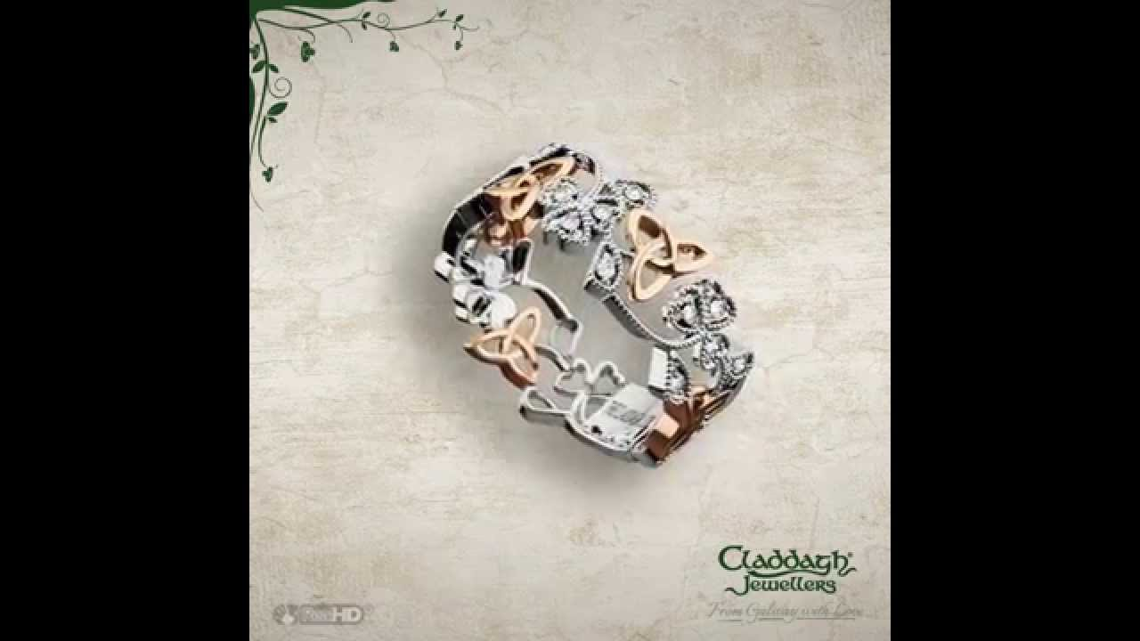 rings shoulders ring cuffs ca product hand model claddagh trinity wedding with knot white gold options