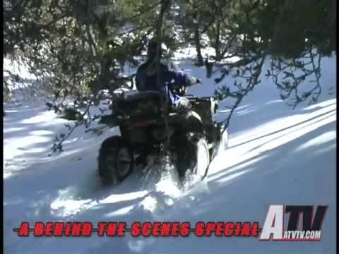 ATV Television Special - A Day Behind the Scenes Testing 3 Sets of Tires in the Snow part 2 of 3