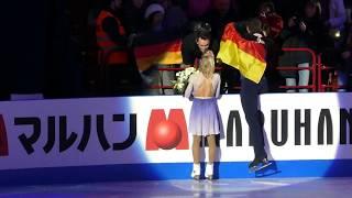 Aljona Savchenko & Bruno Massot, worlds 2018, after medal ceremony