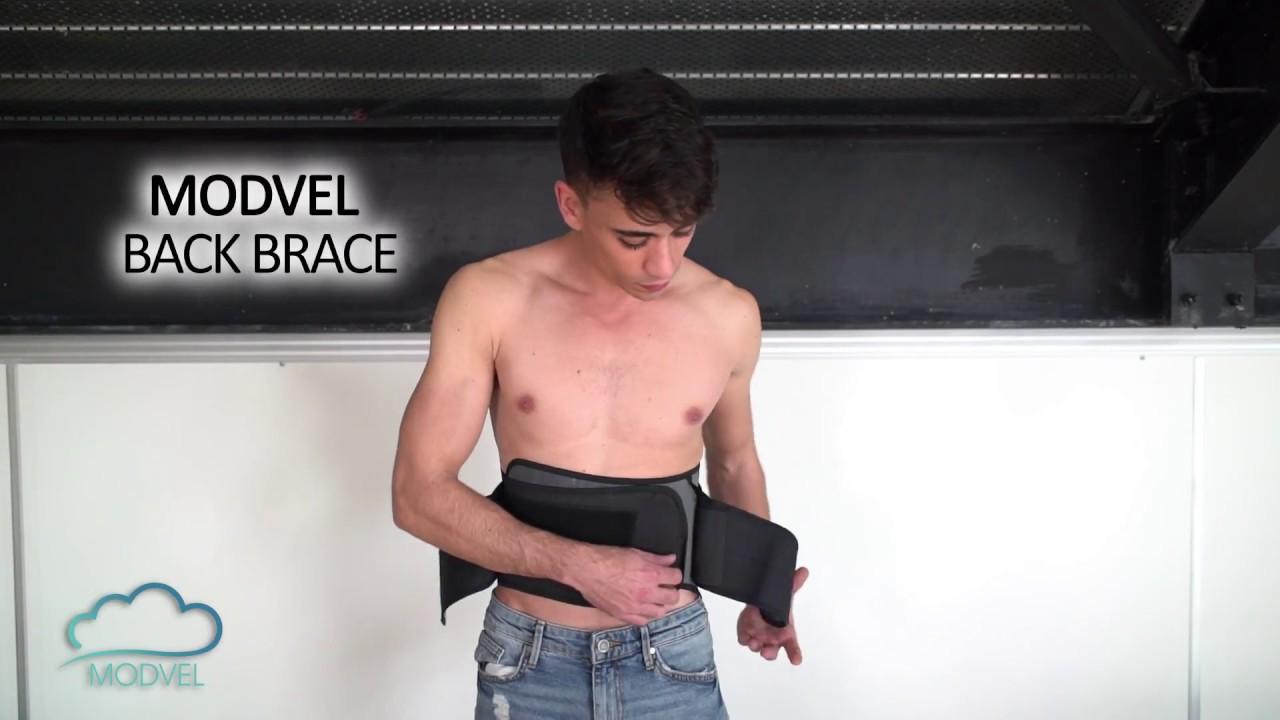MODVEL Lower Back Lumbar Support Brace for Men & Women   Breathable Fa