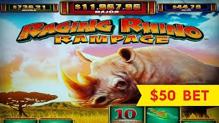 Raging Rhino Rampage Slot - NICE SESSION, ALL FEATURES!