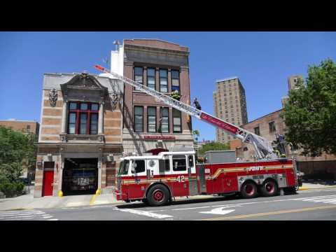 FDNY Ladder 42 conducts a rooftop drill