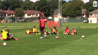 Liverpool FC Shooting practice in training