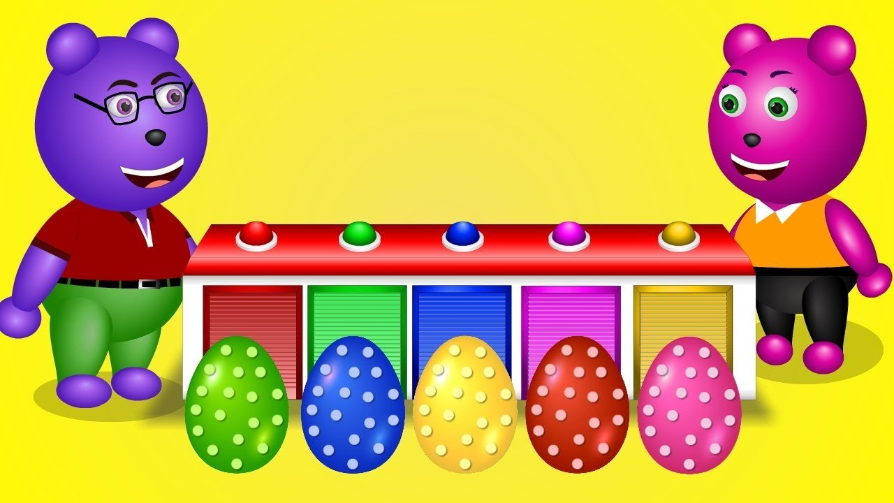 Cute Gummy Bear Learning Colors with Surprise eggs | Finger Family Nursery Rhymes