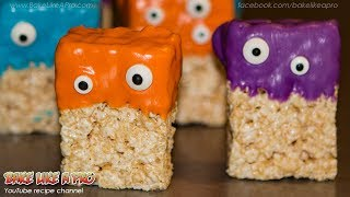 EASY Halloween Rice Krispies Treats Monsters Recipe