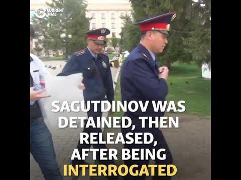 Meta Protest: Kazakh Man Detained Holding Blank Poster