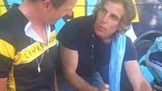 Ben Stiller on Lance Armstrong's TT Bike Before Stage 4 Tour De France