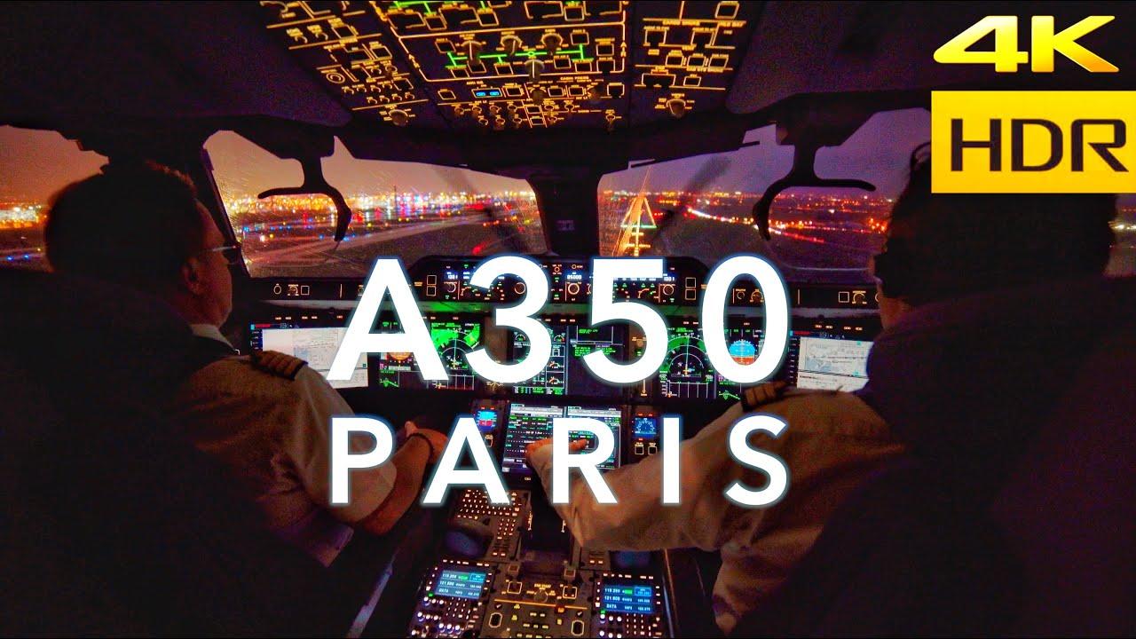 A350 LANDING IN PARIS 4K HDR