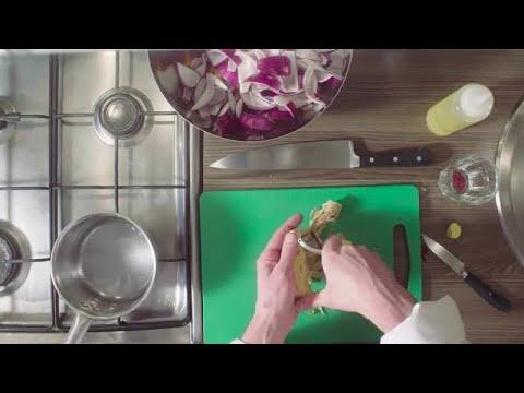 Chef Peeling Ginger Root Stock Video
