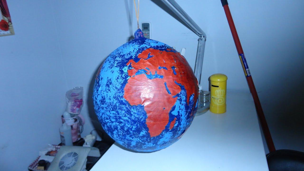 Como hacer un globo terraqueo con un globo youtube - Como se hace manualidades ...
