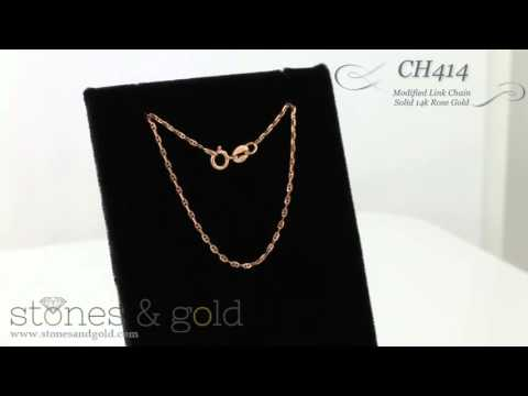 ModIfied Solid 14K Rose Gold Link Chain Necklace | CH414.R
