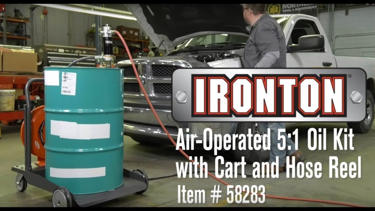 Ironton Air Operated 5 1 Oil Pump Kit With Cart And Hose Reel 3 7