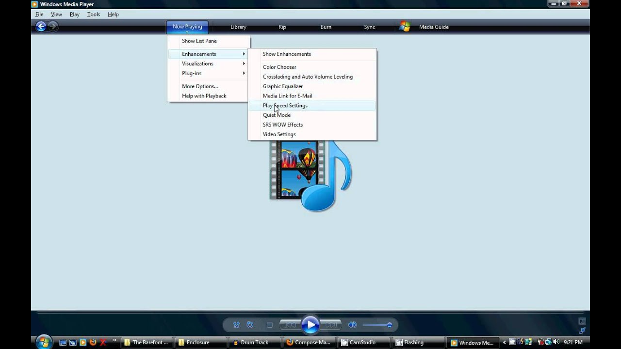 How to change the Speed Settings in Windows Media Player