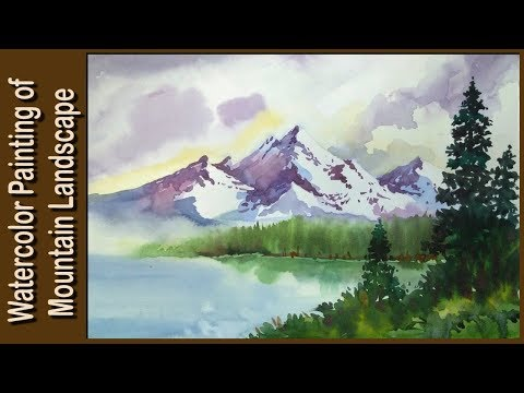 Watercolor painting | Watercolor tutorial of simple  Mountain and Lake landscape step by step easy