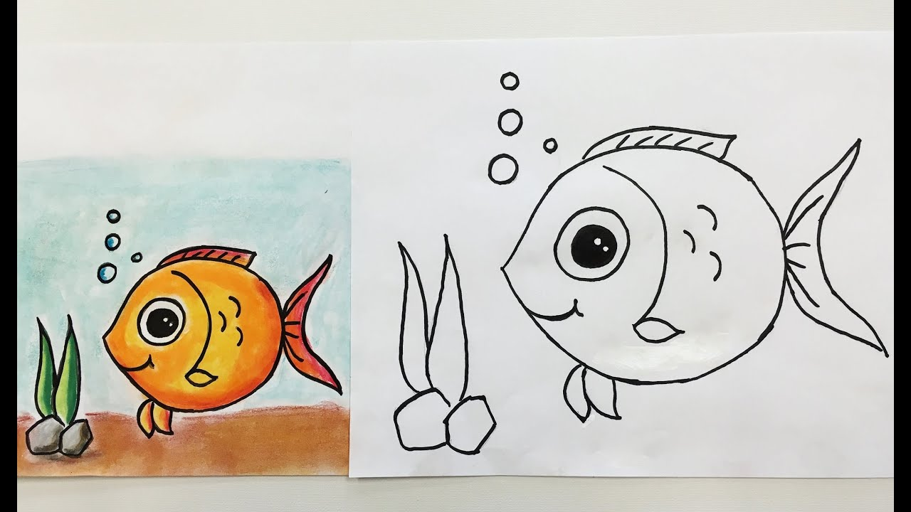 how to draw a fish for kids youtube