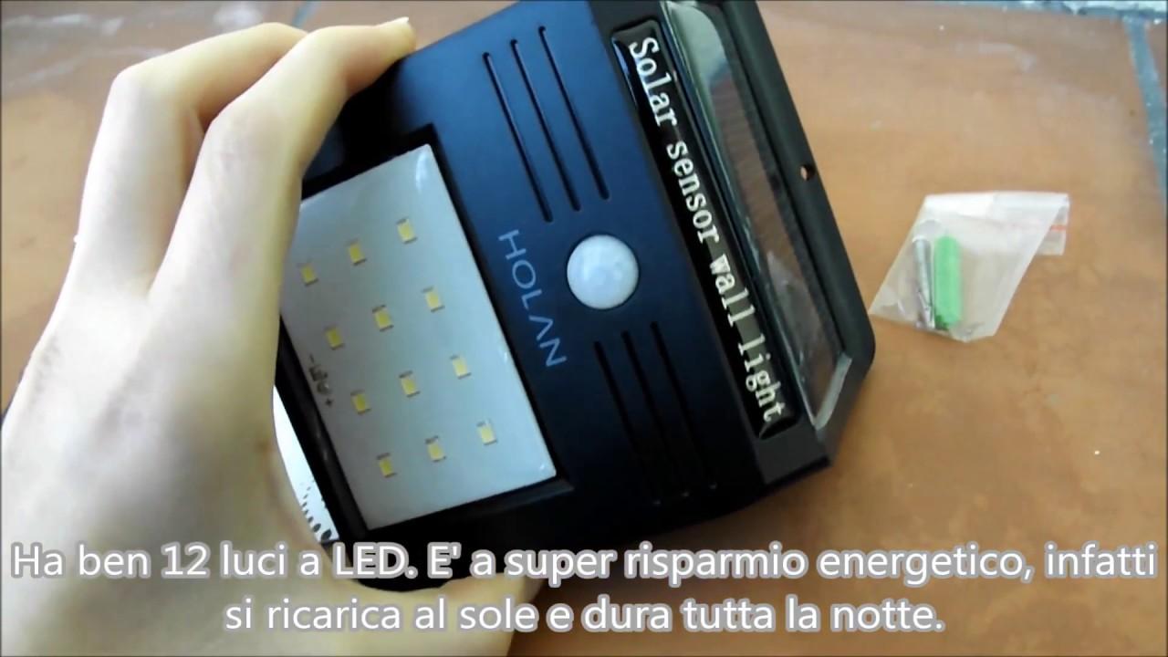 Luce Per Esterno Con Pannello Solare.Lampada Luce Da Esterni Con Pannello Solare A 12 Led Holan
