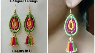 Pyramid shape Designer Silk Thread Earrings Tutorial
