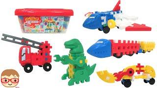学研のニューブロック たっぷりセット 恐竜,はしご消防車,飛行機,ショベルカー,新幹線,ロボット,ダンプカー 色々な作品が作れるよ(^^) 知育おもちゃ