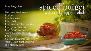 Slimming World Barbecued Spiced Burger With Red Pepper Relish