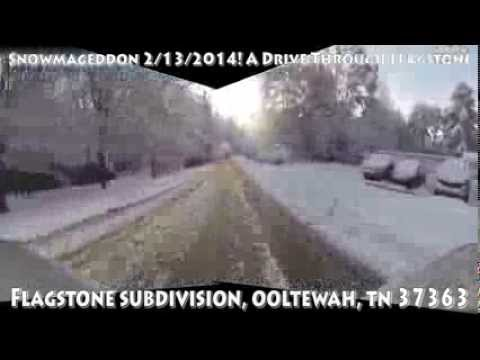 Snowmageddon Flagstone Subdivision Ooltewah TN Panoramic Drive Perspective