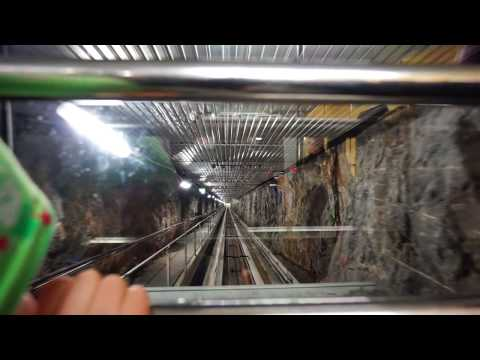 Sweden, Stockholm, Liljeholmen Subway Station, Nybohovshissen, diagonal elevator