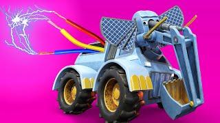 АнимаКары - Зима : СЛОНА ЭКСКАВАТОРА закоротило  - мультфильмы для детей с машинами и животными