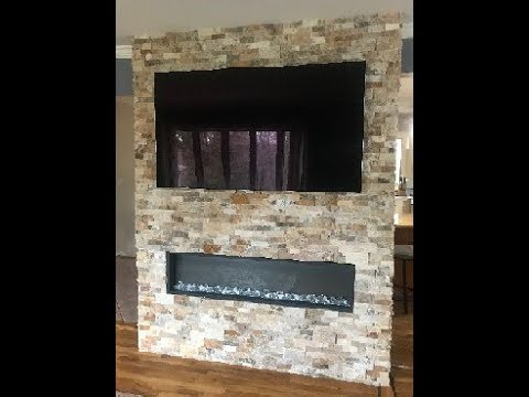 Diy How To Build A Stone Wall For Recessed Electric Fireplace And Tv