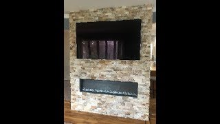 DIY-How to build a Stone wall for Recessed electric fireplace and TV.