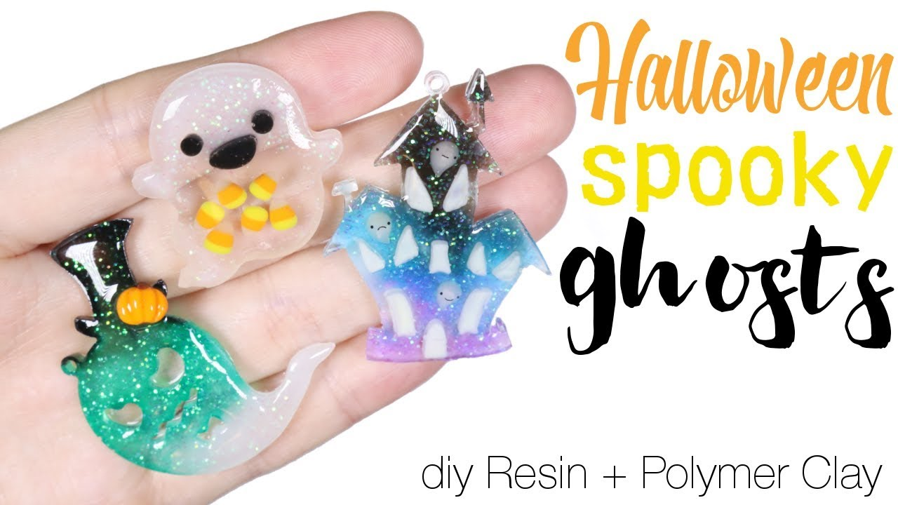 How to DIY 3 in 1 Halloween Ghost Charms Resin:Polymer Clay Tutorial