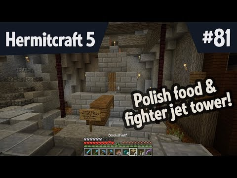 Polish food and fighter jet tower shop — Hermitcraft 5 ep 81