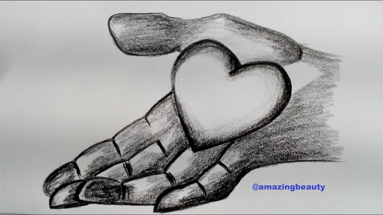 How to draw love on hand step by step tutorial pencil sketching for beginners