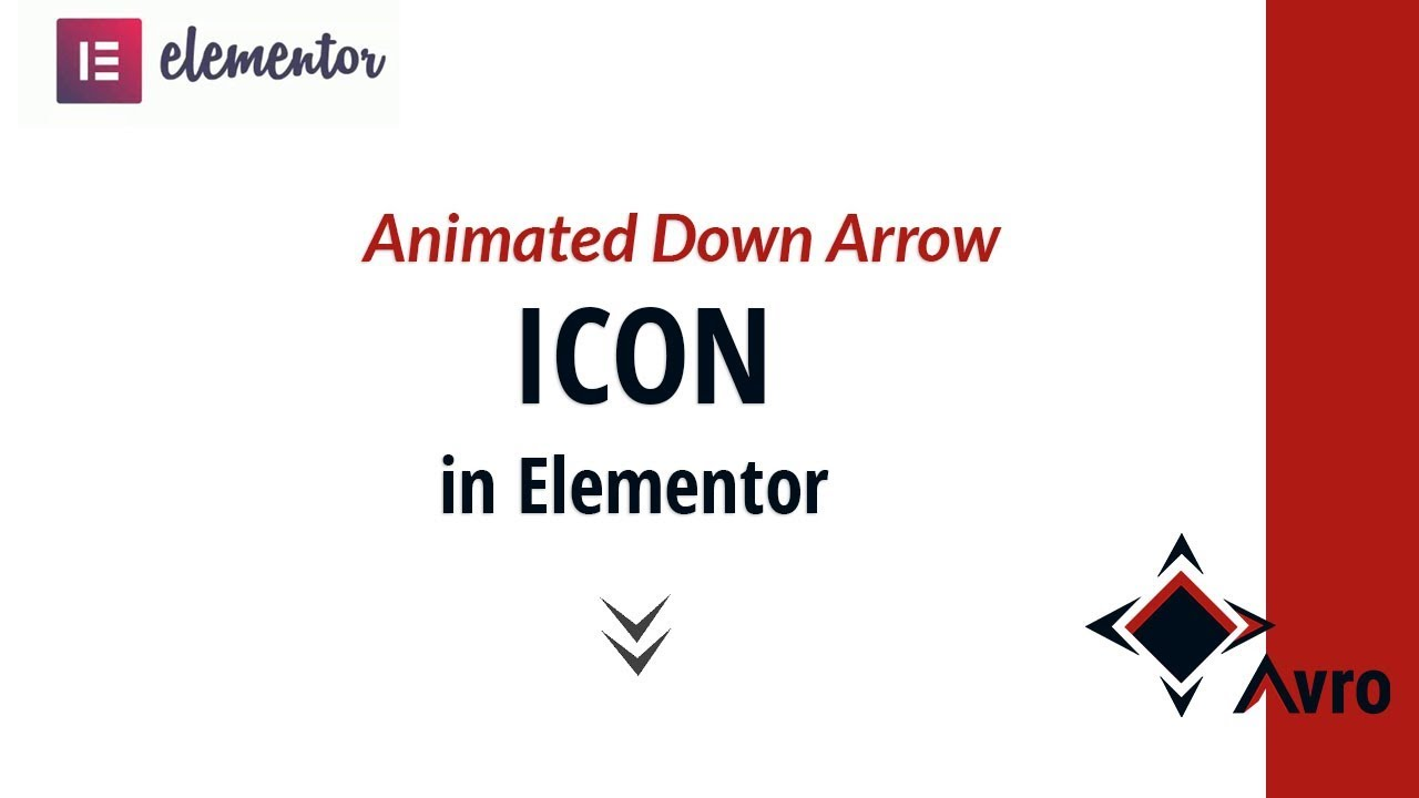 Animated scroll down arrow icon with elementor and css -Avro