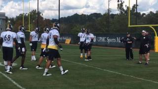 Pittsburgh Steelers OL works with B.J. Finney