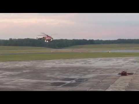 Mercy Flight Central 3 BK117 Helicopter Landing on Dolly at Griffiss International