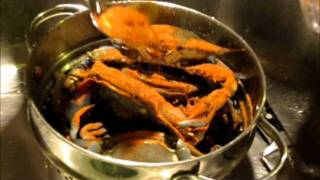 Chef Jarod Steams Blue Crabs In Old Bay Seasoning