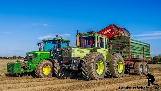 John Deere 6125R mit Grimme SE 150-60 und MBTrac 1600 am Kartoffelnroden bei Wortmann/Schnepper
