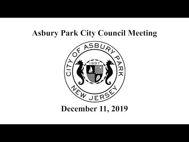 Asbury Park City Council Meeting - December 11, 2019