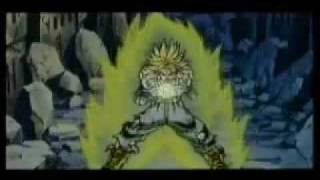 Goku, Vegeta,Trunks, Gohan and Gogeta vs Broly.