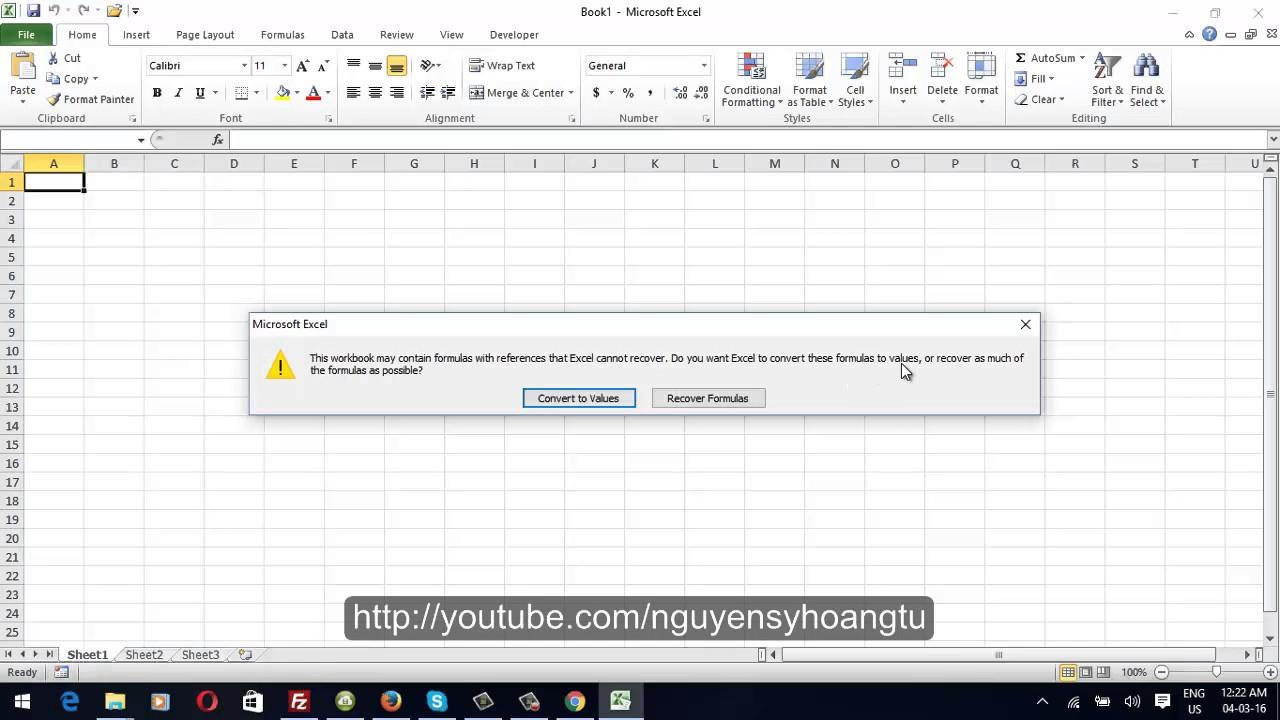 Hướng dẫn phục hồi file Excel bị lỗi không mở được