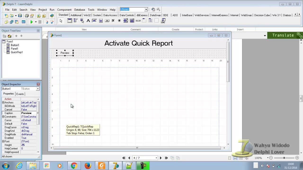 Adding QuickReports to the Delphi 7 Component Palette